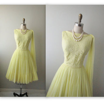 50s Prom Dress // Vintage 1950's Lemon Lace by TheVintageStudio