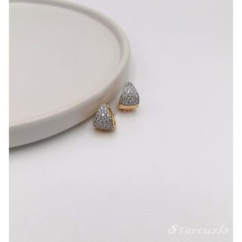 Pave Tear Drop Shaped Huggie Hoop Earrings (E-1808)