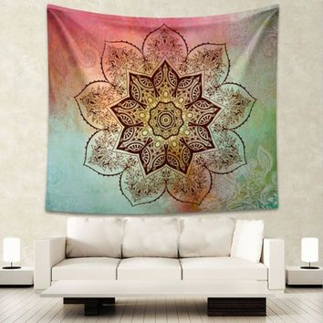 Splash of Color Flower Mandala Wall Tapestry, 64x57in