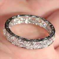 Vintage French Retro 3.8ctw Diamond Eternity Ring in Platinum c.1940