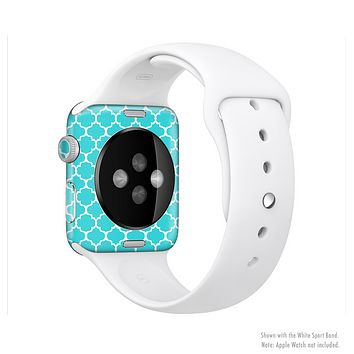 The Teal And White Seamless Morocan Pattern Full-Body Skin Kit for the Apple Watch