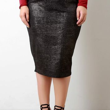 Subtle Shimmer High Waist Pencil Skirt