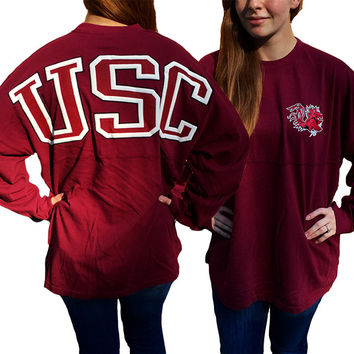 USC South Carolina Gamecocks Women's Logo Sweeper Long Sleeve Oversized Top Shirt