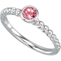 Sterling Silver Stackable Twist Rope Ring with Amethyst, Pink Tourmaline, Citrine, Aquamarine, Peridot, or Garnet
