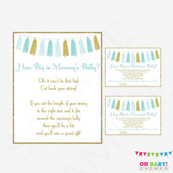 How Big is Mommys Belly, Blue and Gold Baby Shower Games, Boy Baby Shower String Game, Baby Shower Printables Instant Download Tassels TASBG