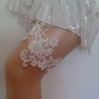 Ivory Wedding garter bridal garter lace ivory handmade with sewing  sequins beads pearl lace bridal garter garters free shipping