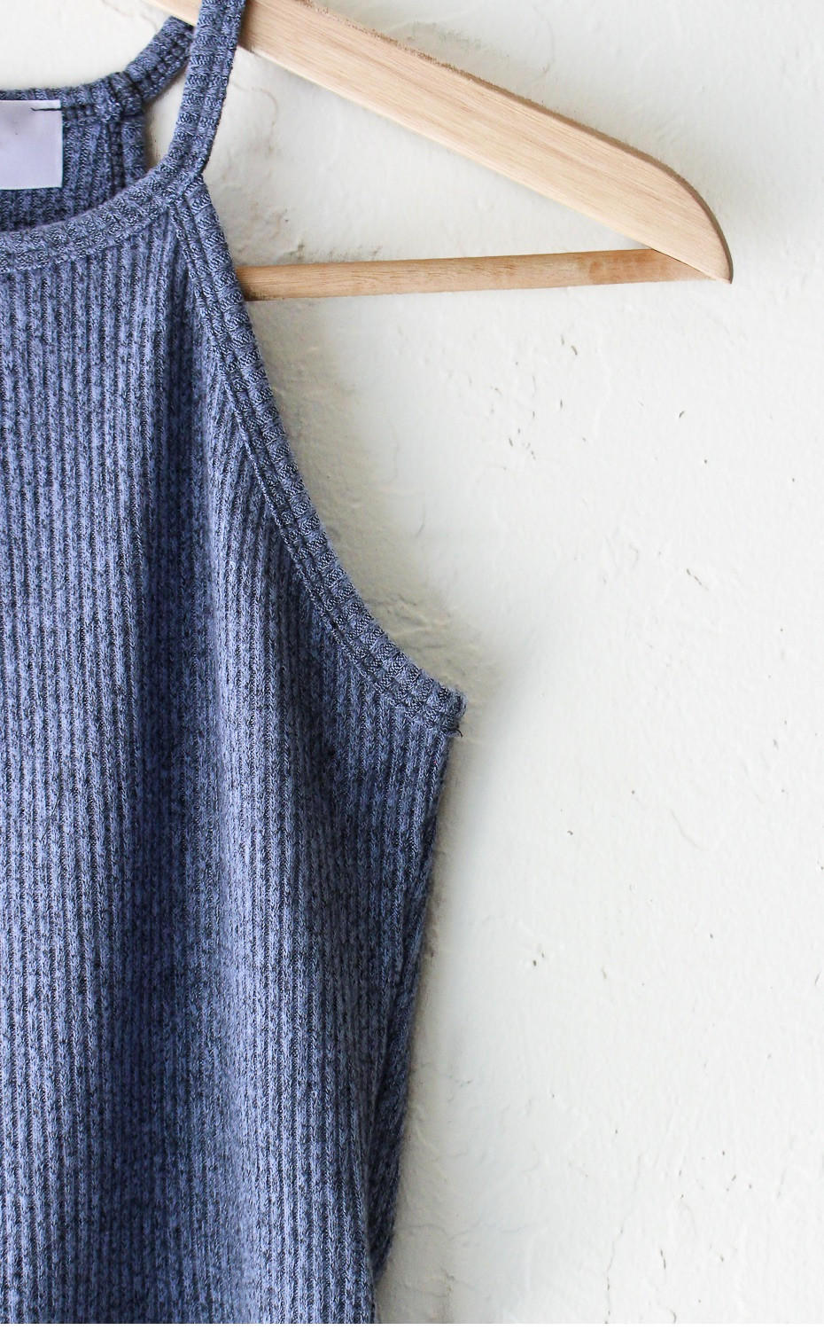 Knit Halter Crop Top - Dusty Blue from NYCT Clothing