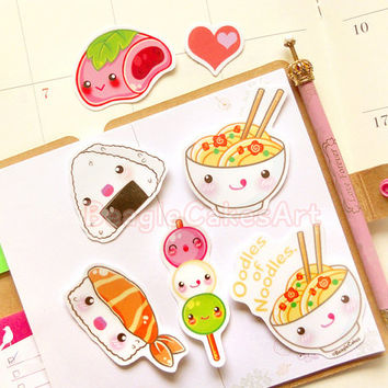 Japanese Food Stickers. Ramen Noodle. Mochi. Sushi Sticker. Waterproof Sticker. Vinyl Sticker. Planner Sticker. Scrapbooking Supply. Gift.