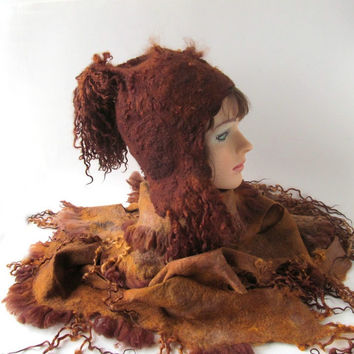 Felted hat - fall  brown mustard raw wool curls