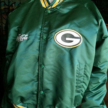 80's Green Bay Packers Satin Bomber Jacket by Chalkline,Coca Cola & Wisconsin Green Bay Packers Football Jacket,Vintage Green Bay Packers MD