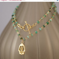 CLEARANCE - Raw Emerald Necklace -May Birthstone -  Hamsa Charm - Gold Necklace - Toggle Clasp Mother's Day Gift