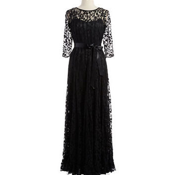 Teri Jon Floral Lace Gown With Sash