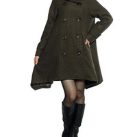 Double breasted Hoodie wool coat/ winter wool coat/ army green Cloak coat
