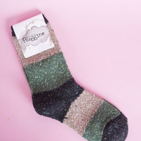 Patchwork Wool Ankle Socks Black/Olive