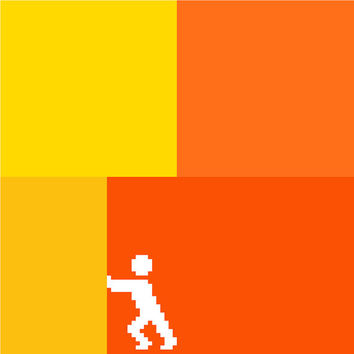 And if I move this over there... Contemporary cross stitch pattern. Negative silhouette of a little person against bright blocks of colour.