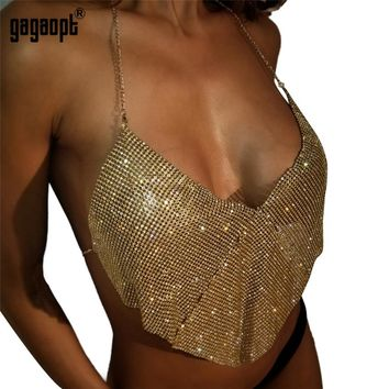 Gagaopt Shiny Rhinestones Crop Top Backless Summer Beach Chic Party Bralette Cropped Sexy Women Tank Top