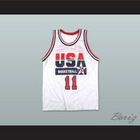 Karl Malone 11 USA Team Home Basketball Jersey