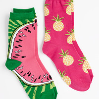 Pineapple & Watermelon Crew Socks
