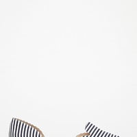 Striped Canvas d'Orsay Flats