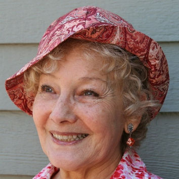 Paisley Ladies Sun Bonnet, Beach Hat, Paisley Brick Red Brown and Tan