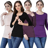 Mamalove Modal Long Sleeve Maternity clothes Nursing Top Breastfeeding Tops for Pregnant Women Style Fashion Maternity T-shirt