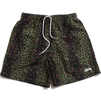 Leopard Water Shorts Olive
