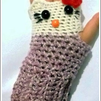 hello my kitty/owl fingerless gloves