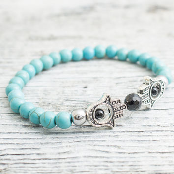 Turquoise and silver plated hematite beaded silver Hamsa hands stretchy bracelet, made to order yoga bracelet