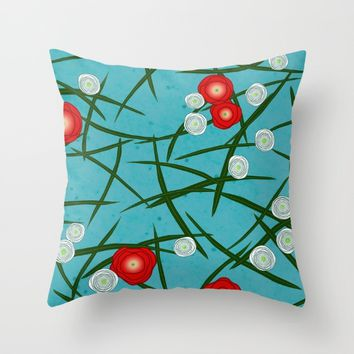 Japenese Water Flowers Pattern Throw Pillow by oursunnycdays