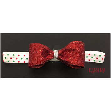 Glittery red bow with white green and red polka dots headband, christmas colors