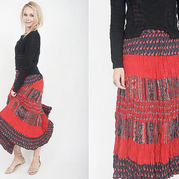 vintage 70s skirt vintage 70s indian cotton skirt 70s indian skirt with ethnic print vintage bohemian hippie skirt vintage boho hippie skirt