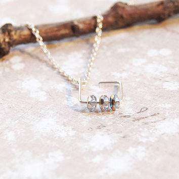 Simple Necklace On A Tiny Sterling Silver Chain, Wire Wrapped Jewelry, Swedish Jewelry, Gifts For Her, Small Necklace, Wire Wrapped Necklace