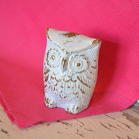 White Owl upcycled distressed gold mantle decor bright housewares owl decor small