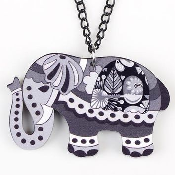 Elephant Necklace Long Chain Acrylic Pendant  Fashion Jewelry For Women Spring Cute Animal Charm Collar Accessories