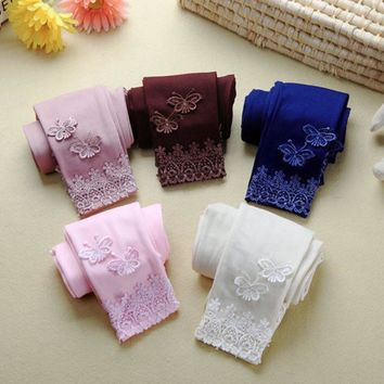 Butterfly Lace  Leggings Elastic Child Dancing Pants Girls clothing