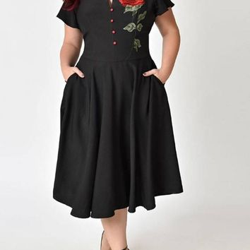 Black Pleated Embroidery Pockets Plus Size Retro High Waisted Elegant Mexican Midi Dress