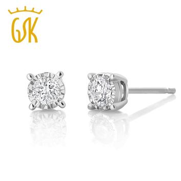 GemStoneKing Natural Diamond-Jewelry 0.10 ctw Miracle Set Round Diamond 10K White Gold Wedding Stud Earrings For Women
