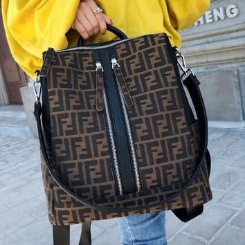 FENDI Fashion Woman Men Canvas F Letter Travel Schoolbag School Bag Backpack