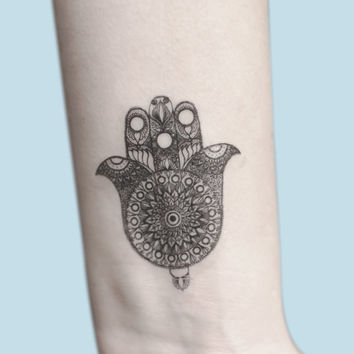 Hamsa Hand Temporary Tattoo, Hamsa Hand Art, Hand Of Fatima Illustration, Birthday Gift, Gift Idea For Women, Spiritual Art Boho Accessories
