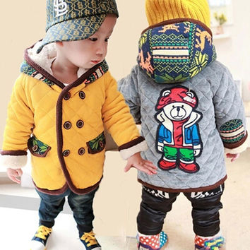 New 2016 Autumn winter Cartoon Bear Baby Boys Girls Hoodie Tops With warm velvet coat and jackets children's clothing