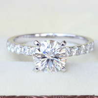Queen Brilliance Genuine 14K White Gold 1.85 Carat GH Color Engagement Moissanite Diamond Ring With Moissanite  Accents