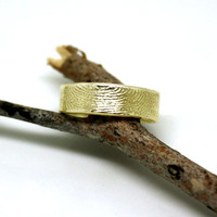 14k gold fingerprint ring, 6mm. wide with slightly wavy rim, unique wedding band, commitment ring, OOAK finger print band