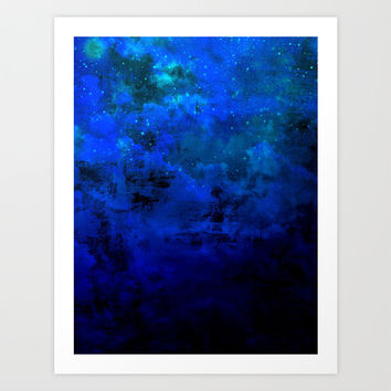 SECOND STAR TO THE RIGHT Rich Indigo Navy Blue Starry Night Sky Galaxy Clouds Fantasy Abstract Art Art Print by EbiEmporium