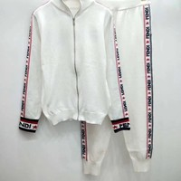 FENDI Mania Knit Zip-Up Jacket + Knit Pants Set Two-Piece