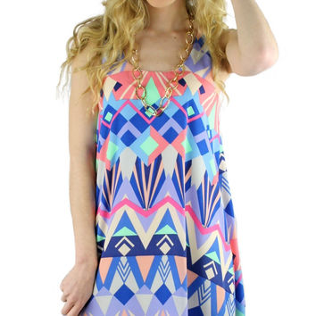 Sleeveless Printed Trapeze Dress - Blue/Pink/Multi