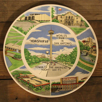 Vintage Souvenir Plate- San Antonio- Texas State Plate- Travel- Destination- Kitchen-1960s- Retro- 1968 World's Fair