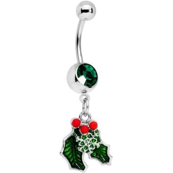 Green Gem Winter Wonderland Snow on the Holly Dangle Belly Ring