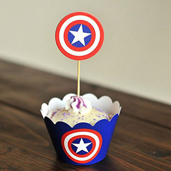Winrase® Set of 12 Chic Captain America Kids Birthday Party Decoration Paper Cupcake Liner Wrap Wrappers with Toppers (12, Captain America)