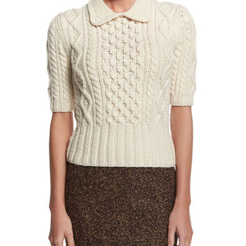 Aran Cable-Knit Collared Sweater, Vanilla, Size: MEDIUM, white - Michael Kors