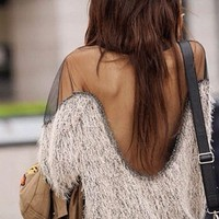 Furry Sheer Sweater Beige